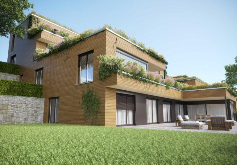 mehrgeschossiger Holzelementbau, Holzfassade